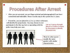 Procedures After Arrest After you are arrested you