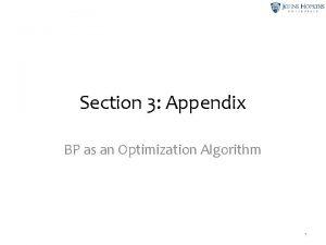 Section 3 Appendix BP as an Optimization Algorithm