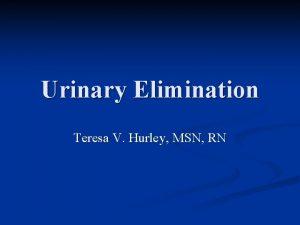Urinary Elimination Teresa V Hurley MSN RN Urinary