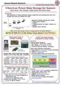 Sensor Network Research University of Massachusetts Amherst UltraLow