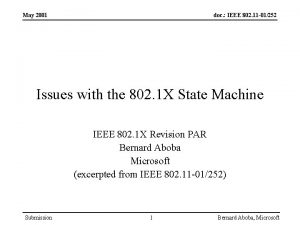 May 2001 doc IEEE 802 11 01252 Issues