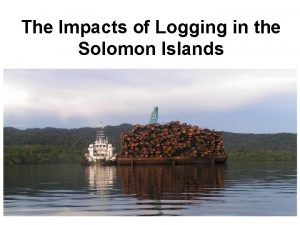 The Impacts of Logging in the Solomon Islands