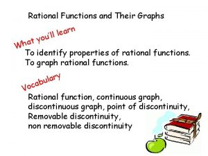 Rational Functions and Their Graphs n r a