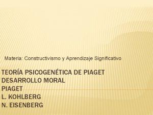 Materia Constructivismo y Aprendizaje Significativo TEORA PSICOGENTICA DE