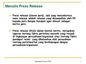 Menulis Press Release n n Press release siaran