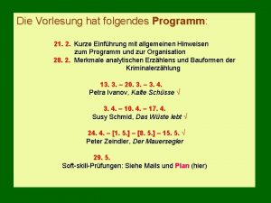 Die Vorlesung hat folgendes Programm 21 2 Kurze