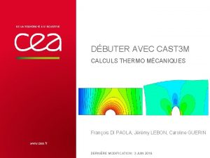 DBUTER AVEC CAST 3 M CALCULS THERMO MCANIQUES