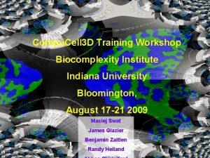 Compu Cell 3 D Training Workshop Biocomplexity Institute