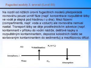 Fugacitn modely 3 rovn Level III Na rozdl