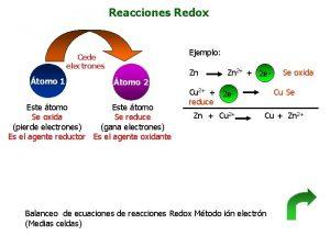 Reacciones Redox Ejemplo Cede electrones tomo 1 Zn