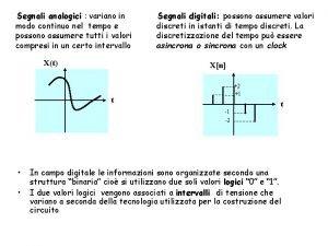 Segnali analogici variano in modo continuo nel tempo