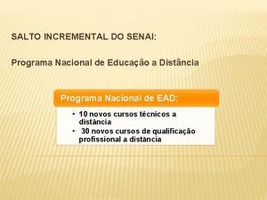 SALTO INCREMENTAL DO SENAI Programa Nacional de Educao