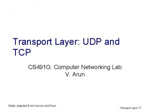 Transport Layer UDP and TCP CS 491 G