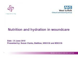 Nutrition and hydration in woundcare Date 25 June