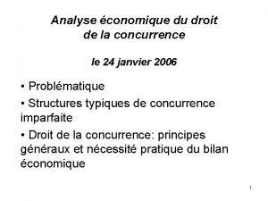 Analyse conomique du droit de la concurrence le