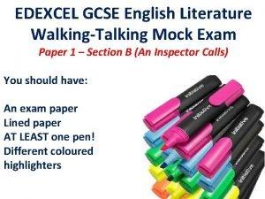 EDEXCEL GCSE English Literature WalkingTalking Mock Exam Paper