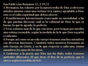 San Pablo a los Romanos 12 1 19