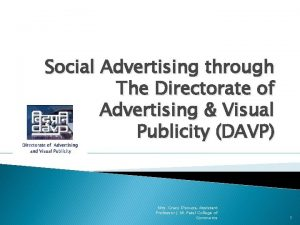 Social Advertising through The Directorate of Advertising Visual