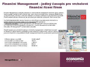 Finann Management jedin asopis pro vrcholov finann zen