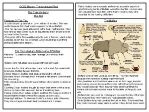GCSE History The American West The Plains Indians