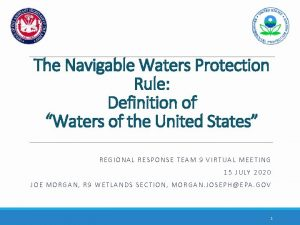 The Navigable Waters Protection Rule Definition of Waters