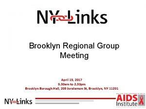 Brooklyn Regional Group Meeting April 19 2017 9