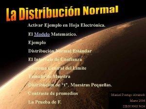Activar Ejemplo en Hoja Electrnica El Modelo Matemtico