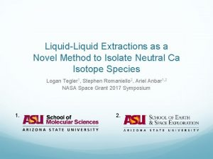 LiquidLiquid Extractions as a Novel Method to Isolate