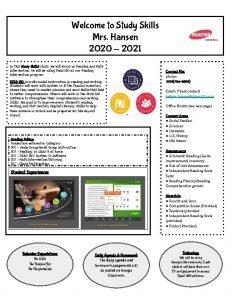 Welcome to Study Skills Mrs Hansen 2020 2021