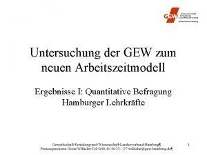 Untersuchung der GEW zum neuen Arbeitszeitmodell Ergebnisse I