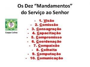 Os Dez Mandamentos do Servio ao Senhor Ceape