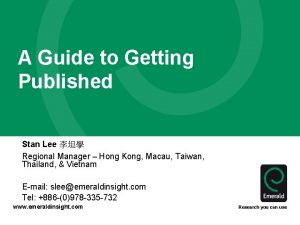 A Guide to Getting Published Stan Lee Regional