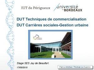 DUT Techniques de commercialisation DUT Carrires socialesGestion urbaine