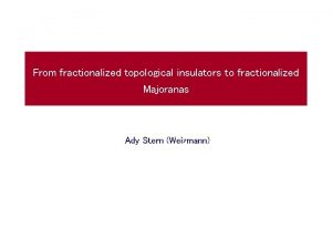 From fractionalized topological insulators to fractionalized Majoranas Ady