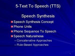 5 Text To Speech TTS Speech Synthesis Concept