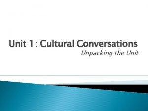 Unit 1 Cultural Conversations Unpacking the Unit Cultural