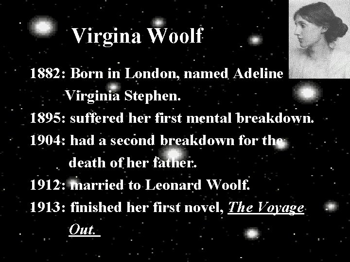 Virgina Woolf 1882 Born in London named Adeline