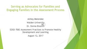 Serving as Advocates for Families and Engaging Families