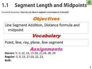 Objectives Line Segment Addition Distance formula and midpoint