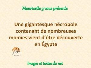 Mauricette 3 vous prsente Une gigantesque ncropole contenant