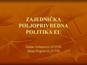 ZAJEDNIKA POLJOPRIVREDNA POLITIKA EU Jelena Aritonovi 051036 Sanja