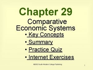 Chapter 29 Comparative Economic Systems Key Concepts Summary