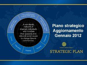Piano strategico Aggiornamento Gennaio 2012 Percorso per il