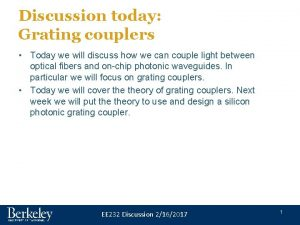 Discussion today Grating couplers Today we will discuss