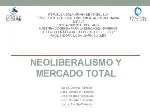REPUBLICA BOLIVARIANA DE VENEZUELA UNIVERSIDAD NACIONAL EXPERIMENTAL RAFAEL