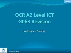Menu OCR A 2 Level ICT G 063