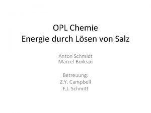 OPL Chemie Energie durch Lsen von Salz Anton