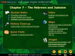 Chapter 7 The Hebrews and Judaism Section Notes