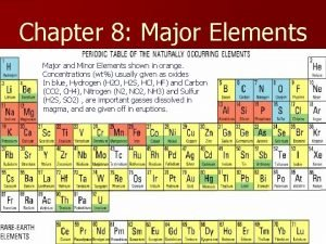 Chapter 8 Major Elements Major and Minor Elements
