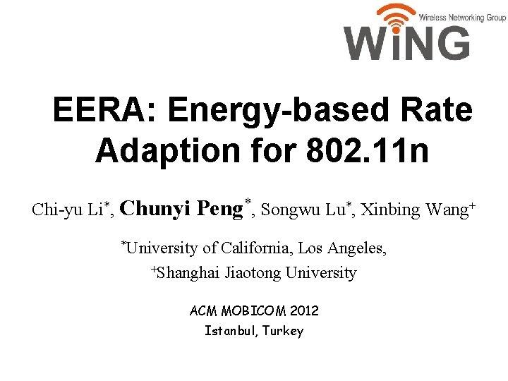 EERA Energybased Rate Adaption for 802 11 n